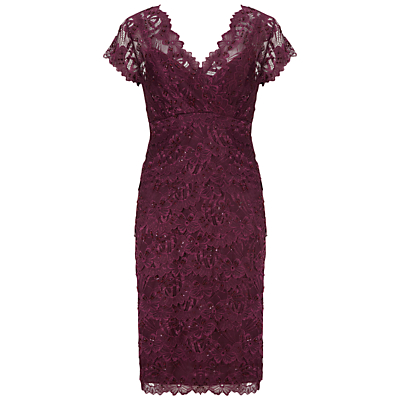 Gina Bacconi Beaded Lace Dress, Wine