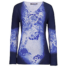 Buy Betty Barclay Fine Knit Flower Print Jumper, Blue/Grey Online at johnlewis.com