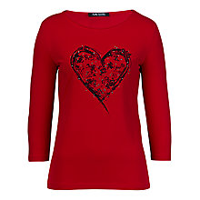 Buy Betty Barclay Heart Stud T-shirt, Red Online at johnlewis.com