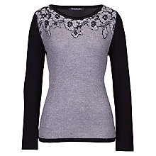 Buy Betty Barclay Soft Knit Flower Neck Jumper, Black Online at johnlewis.com