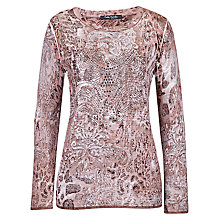 Buy Betty Barclay Print Long Sleeve Jumper, Brown Online at johnlewis.com