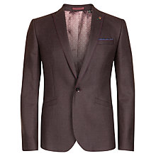 Buy Ted Baker Hordor Wool Check Blazer, Dark Red Online at johnlewis.com