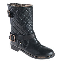 Buy Barbour Stanchion Leather Quilted Calf Boots, Black Online at johnlewis.com
