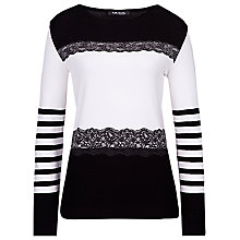 Buy Betty Barclay Lace Embossed Jumper, Black / Cream Online at johnlewis.com