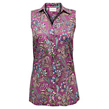 Buy East Georgina Sleeveless Shirt, Magenta Online at johnlewis.com