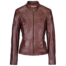 Buy Betty Barclay Leather Jacket, Tobacco Brown Online at johnlewis.com