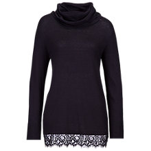 Buy Betty Barclay Cowl Neck Jumper with Lace Hem, Black Online at johnlewis.com