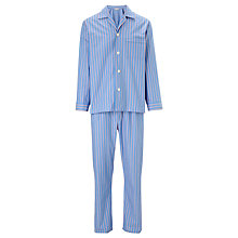Buy Derek Rose Striped Woven Cotton Pyjamas, Blue/Red Online at johnlewis.com