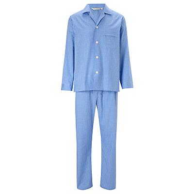Derek Rose Gingham Cotton Woven Pyjamas, Blue