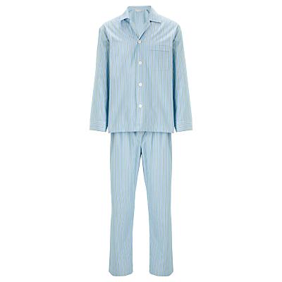 Derek Rose Woven Stripe Pyjama Set, Blue/Green