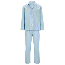 Buy Derek Rose Woven Stripe Pyjama Set, Blue/Green Online at johnlewis.com