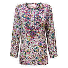 Buy East Audrey Floral Blouse, Magenta Online at johnlewis.com