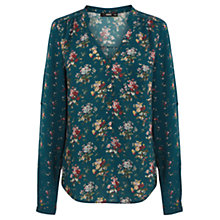 Buy Oasis Patched Ditsy Print Shirt, Green/Multi Online at johnlewis.com