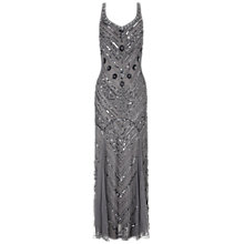 Buy Ariella Silvia Sequin Long Dress, Silver Online at johnlewis.com