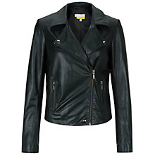 Buy Hobbs Anita Biker Jacket, Forest Green Online at johnlewis.com