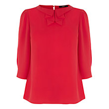 Buy Oasis Pleat Collar Long Sleeve Top, Rich Red Online at johnlewis.com