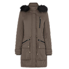 Buy Warehouse Quilted Sleeve Fur Hood Parka Online at johnlewis.com