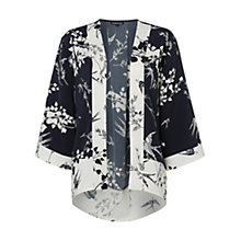 Buy Warehouse Oriental Bird Print Kimono, Blue/Multi Online at johnlewis.com