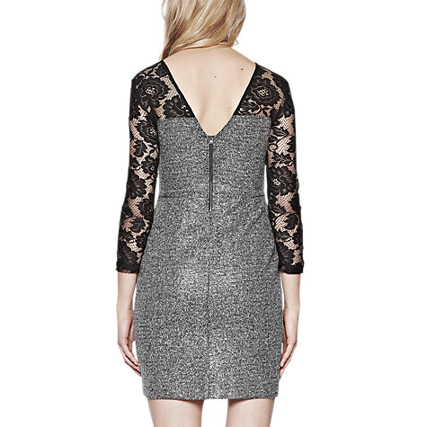 Buy French Connection Golden Mist Lace Dress, Tweed/Black Lace Online at johnlewis.com