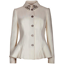 Buy Ted Baker Embellished Peplum Jacket, Natural Online at johnlewis.com