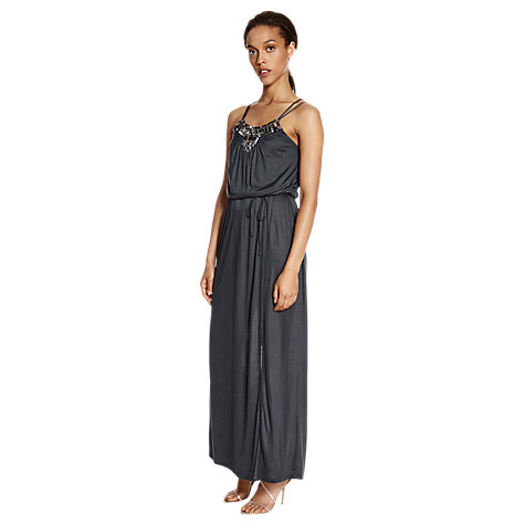 Buy Warehouse Embellished Maxi Dress, Dark Grey Online at johnlewis.com