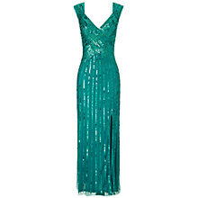 Buy Ariella Samantha Sequin Long Dress, Teal Online at johnlewis.com