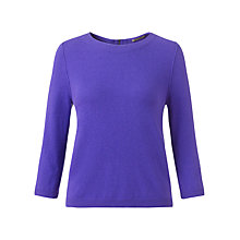 Buy Jigsaw Zip Back Crew Jumper, Purple Online at johnlewis.com