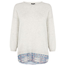 Buy Warehouse Woven Hem Jumper, Light Grey Online at johnlewis.com