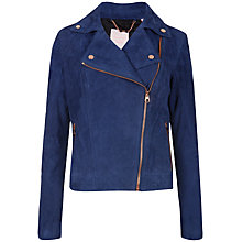 Buy Ted Baker Goat Suede Biker Jacket, Blue Online at johnlewis.com