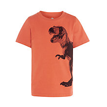 Buy John Lewis Boy Dinosaur Print T-Shirt, Orange Online at johnlewis.com