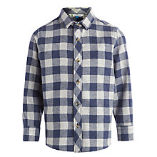 Buy John Lewis Boy Gingham Twill Shirt, Navy/Grey Online at johnlewis.com