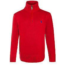 Buy Polo Ralph Lauren Boys' Mock Neck Half-Zip Jumper Online at johnlewis.com