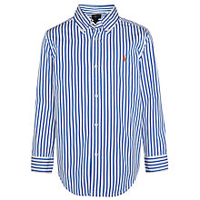 Buy Polo Ralph Lauren Boys' Stripe Long Sleeve Shirt, Blue/White Online at johnlewis.com