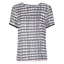 Buy Havren Painted Check Print T-Shirt, Charcoal Combo Online at johnlewis.com