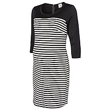 Buy Mamalicious Carrie 3/4 Length Sleeve Jersey Maternity Dress, Black/White Online at johnlewis.com