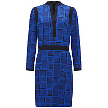 Buy Jaeger Cube Printed Silk Dress, Navy Online at johnlewis.com