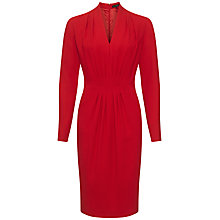 Buy Jaeger Gathered Front Wool Dress, Cherry Online at johnlewis.com