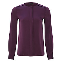 Buy Jaeger Silk Satin Collarless Blouse, Damson Online at johnlewis.com