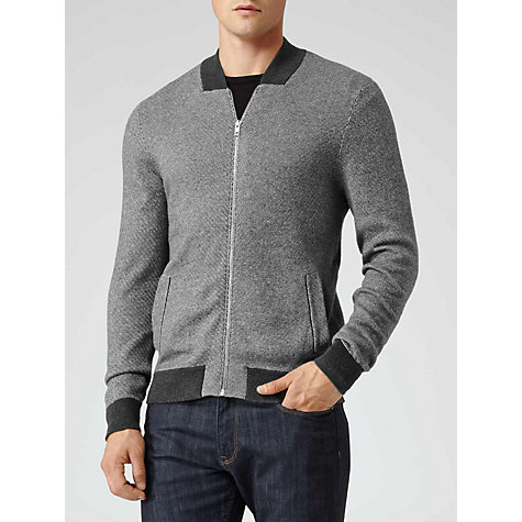 Buy Reiss Harry Knitted Bomber, Grey Online at johnlewis.com