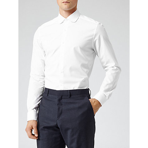 Buy Reiss Rhyme Curved Collar Long Sleeve Shirt, White Online at johnlewis.com