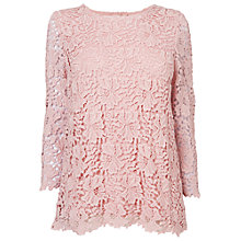 Buy Phase Eight Zanna Crochet Lace Blouse, Pale Pink Online at johnlewis.com