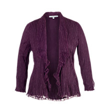 Buy Chesca Lace Pleated Waterfall Jacket, Aubergine Online at johnlewis.com