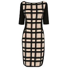 Buy Phase Eight Carina Check Knit Dress, Black/Stone Online at johnlewis.com