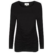 Buy Havren Draped Ruched Front Jersey Top, Black Online at johnlewis.com