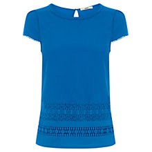 Buy Oasis Lace Woven Shell Top, Mid Blue Online at johnlewis.com