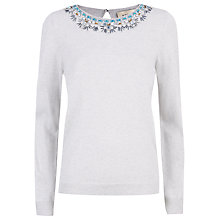 Buy Havren Beaded Necklace Jumper, Grey Online at johnlewis.com