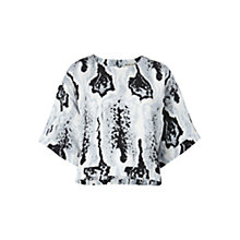 Buy Whistles Ocelot Print Silk Top, Grey/Multi Online at johnlewis.com