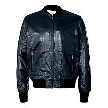 Buy Selected Homme Driggs Leather Bomber Jacket, Black Online at johnlewis.com