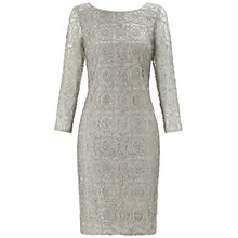 Buy Adrianna Papell Metallic Lace Sequinned Dress, Silver Online at johnlewis.com