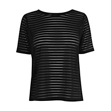 Buy Warehouse Sheer Stripe Top, Black Online at johnlewis.com